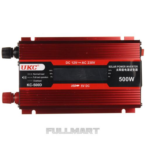 Инвертор-преобразователь UKC KC-500D AC/DC с 12 на 220 вольт + LCD 500W (14984)