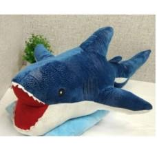 Игрушка подушка плед 3 в 1 Акула 60 см синяя