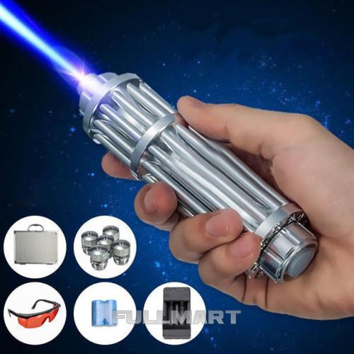 Лазерная указка с насадками Blue Laser B017 Синяя   лазер в кейсе