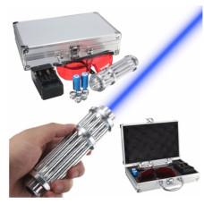 Лазерная указка с насадками Blue Laser B017 Синяя | лазер в кейсе