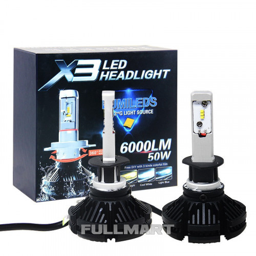 Светодиодные LED лампы X3 H11 для автомобиля   автолампы HEADLIGHT 8000K/6000Lm   автомобильные лед лампы
