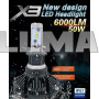 Светодиодные LED лампы X3 H7 для автомобиля   автолампы HEADLIGHT 8000K/6000Lm   автомобильные лед лампы