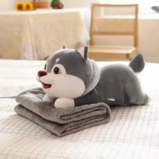 Детский плед игрушка Собачка 3 в 1 серый