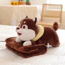 Детский плед игрушка Собачка 3 в 1 коричневый
