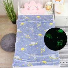 Детский плед Космос светящийся в темноте 140х110см микрофибра синий