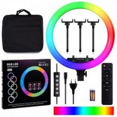 Кольцевая LED лампа RGB MJ18 45см (3 крепления) пульт + сумка