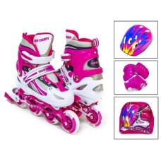 Ролики Power Champs комплект с защитой розовый