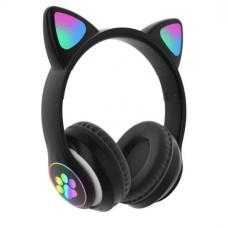 Беспроводные Bluetooth наушники с ушками Cat Ear VZV-23M с LED подсветкой Черные