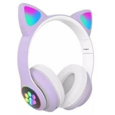 Беспроводные Bluetooth наушники с ушками Cat Ear VZV-23M с LED подсветкой Сиреневые