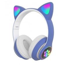 Беспроводные Bluetooth наушники с ушками Cat Ear VZV-23M с LED подсветкой Синие