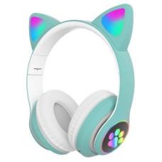 Беспроводные Bluetooth наушники с ушками Cat Ear VZV-23M с LED подсветкой Бирюзовые