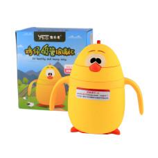 Детская бутылочка поилка с трубочкой дозатором в пластиковой защите Duck