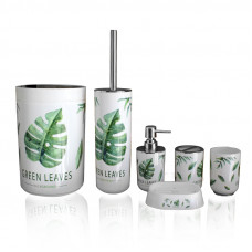 Набор аксессуаров для ванной комнаты Set of green leaves