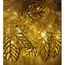 Гирлянда светодиодная Золотые листья 20 led цвет теплый, прозрачный провод