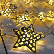 Гирлянда светодиодная Золотые звездочки 20 led цвет теплый, прозрачный провод