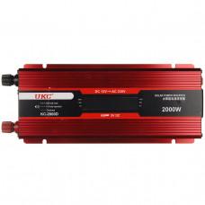 Инвертор-преобразователь UKC KC-2000D AC/DC с 12 на 220 вольт + LCD 2000W (14983)