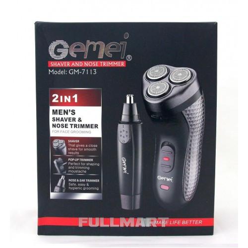 Электробритва Gemei GM-7113  с триммером (FL-203)